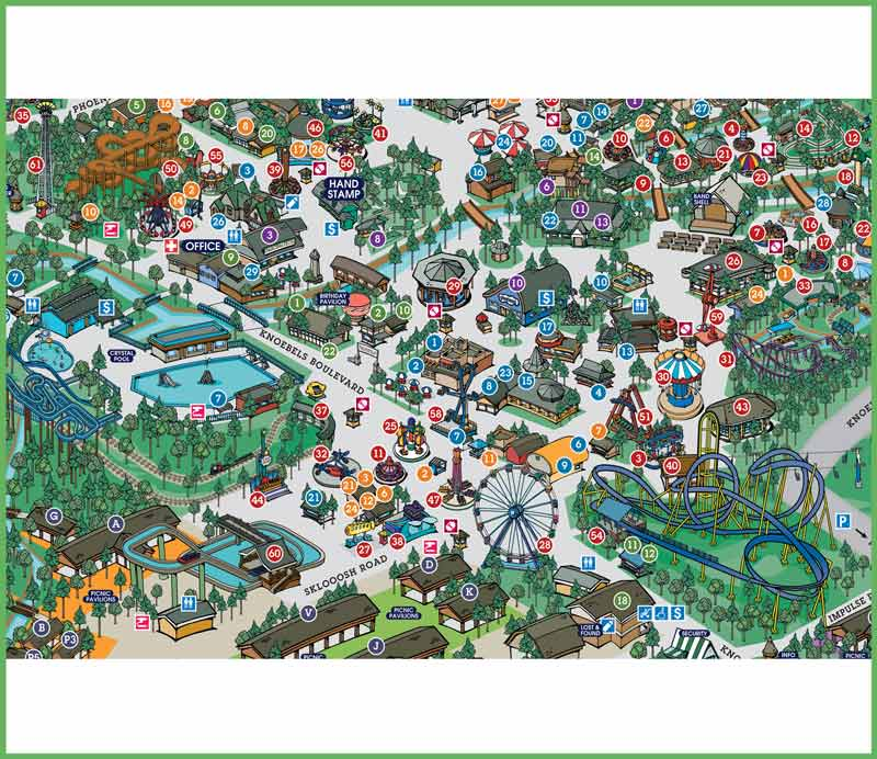 Illustration – Adone Advertising and Design on kennywood map, frontier city map, adventureland map, seabreeze map, carowinds map, fun spot map, blackpool pleasure beach map, great escape map, waldameer map, knott's berry farm map, ghost town in the sky map, michigan's adventure map, cedar point map, six flags map, sesame place map, kings dominion map, wild adventures map, kings island map, delgrosso's map, kiddieland map,